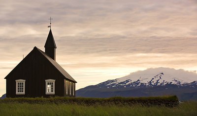 The church in Budir in Snaefellsnes with the glacier in the background.
