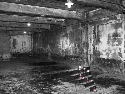 This malevolent room is where the prototype for mass murder was tested. Formally a room where the condemned to death by Gestapo courts were shot, it was transformed into a gas chamber in September 1941. It could hold 900 people at a time. The bodies were burned in an adjoining room.  Even today, in the gloom and dampness, there is a sense of the terrible history of this place. One can stand under the square perforations cut into the flat roof through which the SS dropped the gas crystals. One crosses a drain in the floor through which the excreta and the bodily fluids were washed.  http://www.holocaustsurvivors.org
